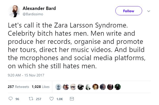 Alexander Bard Möts Av Stor Kritik Efter Attacken Mot Zara Larsson